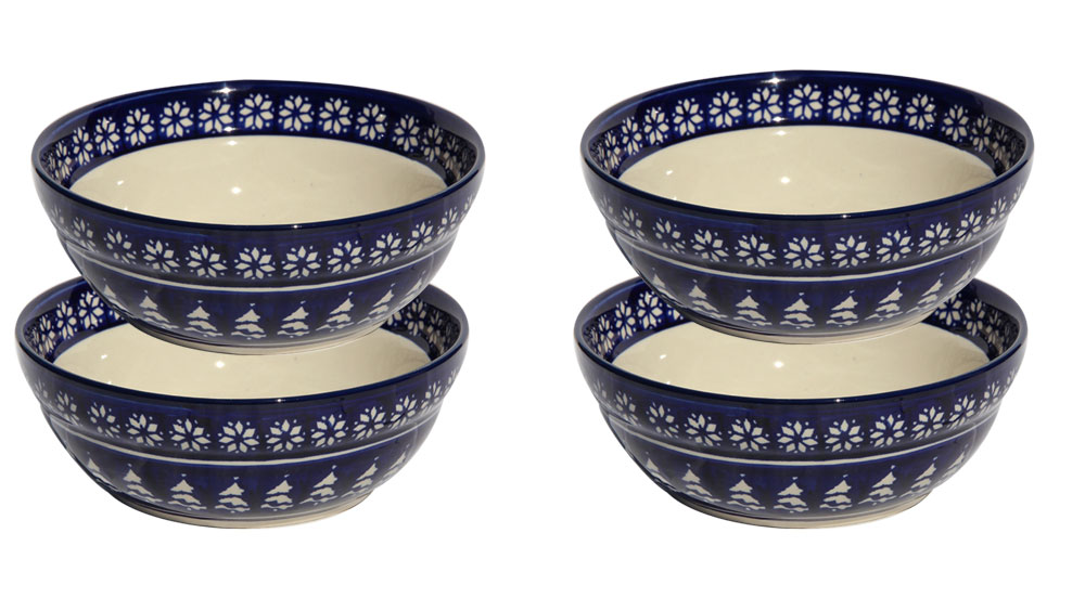 4 Piece Polish Pottery Cereal / Salad Bowl Set
