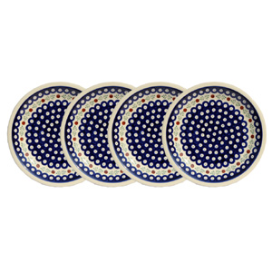 Polish Pottery Set of 4 Dinner Plates  9.5 Inch, Classic Design 242