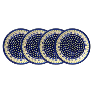 Polish Pottery Set of 4 Dinner Plates  9.5 Inch, Classic Design 296a