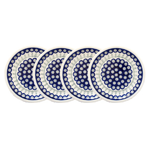 Polish Pottery Set of 4 Dinner Plates  9.5 Inch, Classic Design 312