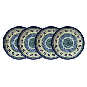 Polish Pottery Set of 4 Dinner Plates  9.5 Inch, Unikat Design DU121