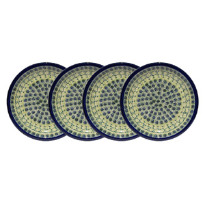 Polish Pottery Set of 4 Dinner Plates  9.5 Inch, Unikat DU41