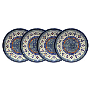 Polish Pottery Set of 4 Dinner Plates  9.5 Inch, Unikat DU60