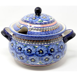 Soup Tureen Capacity: 3 liters Polish Pottery Regal Bouquet Unikat Pattern from Zaklady Boleslawiec