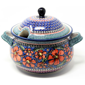 Soup Tureen Capacity: 3 liters Polish Pottery Poppies Unikat Pattern from Zaklady painted by Tomaszewska