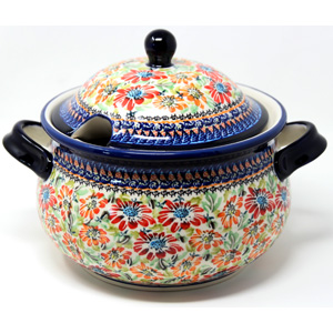 Soup Tureen Capacity: 3 liters Polish Pottery Floral Garden Unikat Pattern from Zaklady