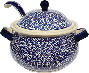 Polish Pottery Soup Tureen with Ladle