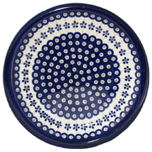 Polish Pottery Dinner Plate, Classic Design Floral Peacock
