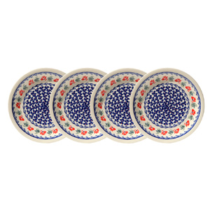 Polish Pottery Set of 4 Dinner Plates, Classic Design 1115