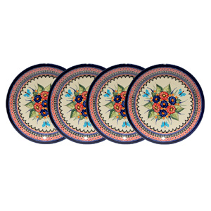 Polish Pottery Set of 4 Dinner Plates, Unikat Signature 149 Art