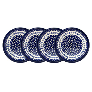 Polish Pottery Set of 4 Dinner Plates, Classic Design Floral Peacock