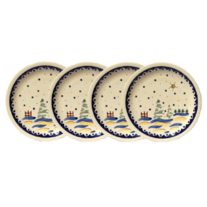 Polish Pottery Set of 4 Dinner Plates, Classic Design 182a