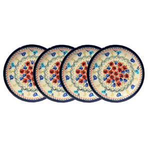 Polish Pottery Set of 4 Dinner Plates 11 Inch, Unikat Signature Design 214 Art