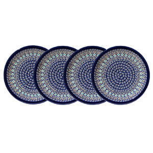 Polish Pottery Set of 4 Dinner Plates, Classic Design 217a