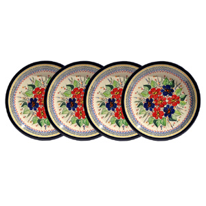 Polish Pottery Set of 4 Dinner Plates, Unikat Signature 233 Art