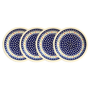 Polish Pottery Set of 4 Dinner Plates, Classic Design 242