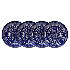 Polish Pottery Set of 4 Dinner Plates, Classic Design 243a