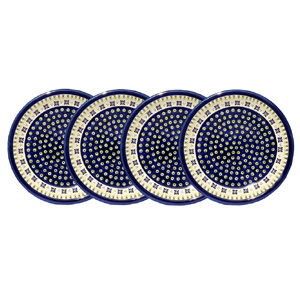 Polish Pottery Set of 4 Dinner Plates, Classic Design 296a
