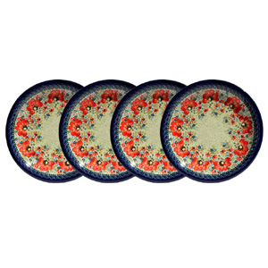 Polish Pottery Set of 4 Dinner Plates, Unikat Signature 296 Art