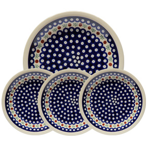 Polish Pottery Set of 4 Dinner Plates, Classic Design 41