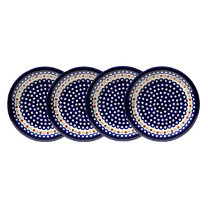 Polish Pottery Set of 4 Dinner Plates, Classic Design 41a