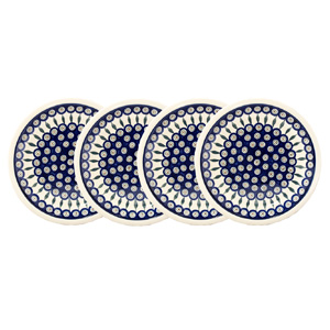 Polish Pottery Set of 4 Dinner Plates, Classic Design Peacock