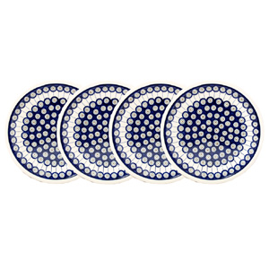 Polish Pottery Set of 4 Dinner Plates, Classic Design 8
