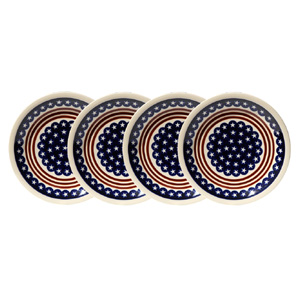 Polish Pottery Set of 4 Dinner Plates, Classic Design 81