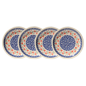 Polish Pottery Set of 4 Dinner Plates, Classic Design 964
