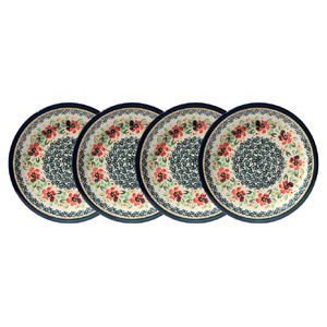 Polish Pottery Set of 4 Dinner Plates  11 Inch, Unikat Design DU116