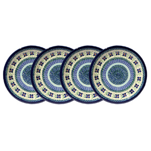 Polish Pottery Set of 4 Dinner Plates  11 Inch, Unikat Design DU121