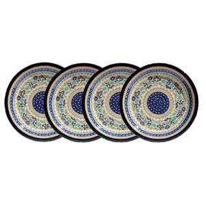 Polish Pottery Set of 4 Dinner Plates  11 Inch, Unikat Design DU157