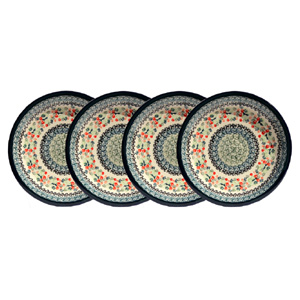 Polish Pottery Set of 4 Dinner Plates  11 Inch, Unikat Design DU158