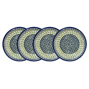 Polish Pottery Set of 4 Dinner Plates  11 Inch, Unikat Design DU41