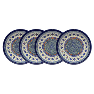 Polish Pottery Set of 4 Dinner Plates 11 Inch, Unikat Design DU60