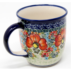 Polish Pottery Mug 12 Oz., Unikat Signature Design 296 Art