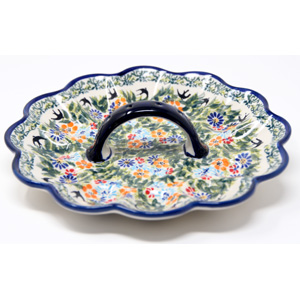 Deviled Egg Plate Polish Pottery in DU182 pattern