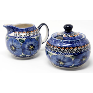 Sugar Bowl and Creamer Set in Regal Bouquet Unikat Pattern painted by Anna Madziarz