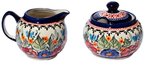 Sugar Bowl and Creamer Set in Floral Butterfly Pattern