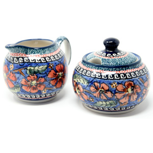 Sugar Bowl and Creamer Set in Poppies Polish Pottery Unikat Pattern painted by Tomaszewska