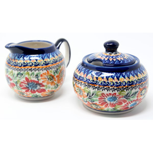 Sugar Bowl and Creamer Set in Floral Garden Polish Pottery Unikat Pattern