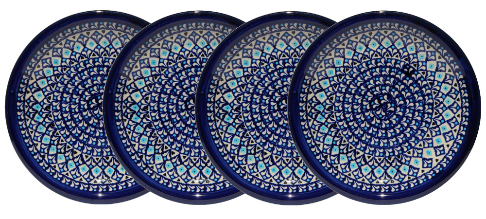 Polish Pottery Set of 4 Dinner Plates  9.5 Inch, Classic Design 217a
