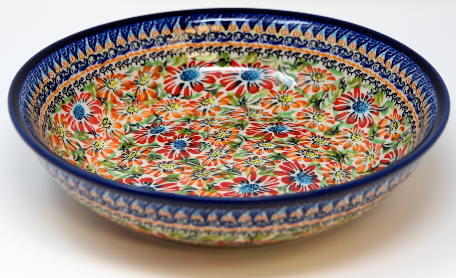 Polish Pottery Bowl 10 Inch, Unikat Signature Design 312 Art