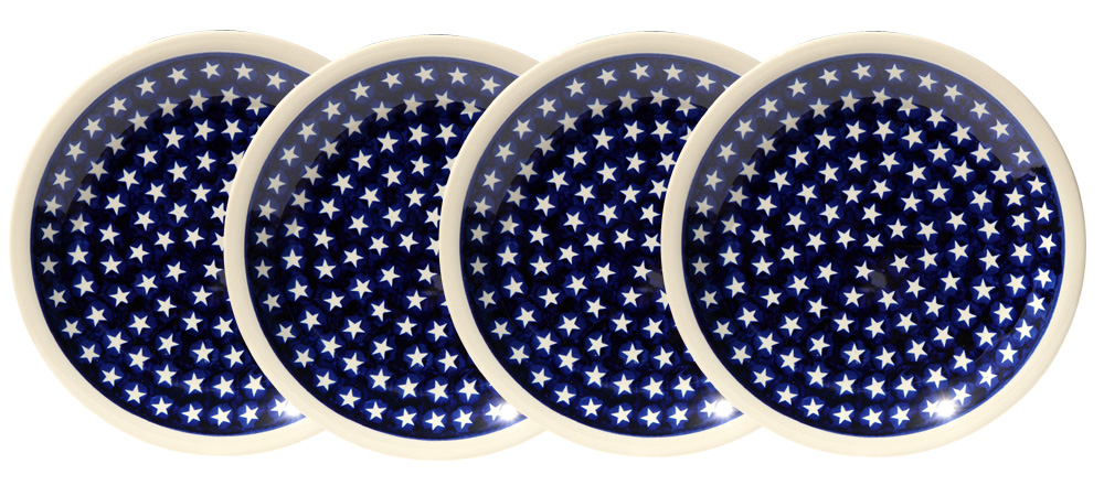 Polish Pottery Set of 4 Dinner Plates, Classic Design 82