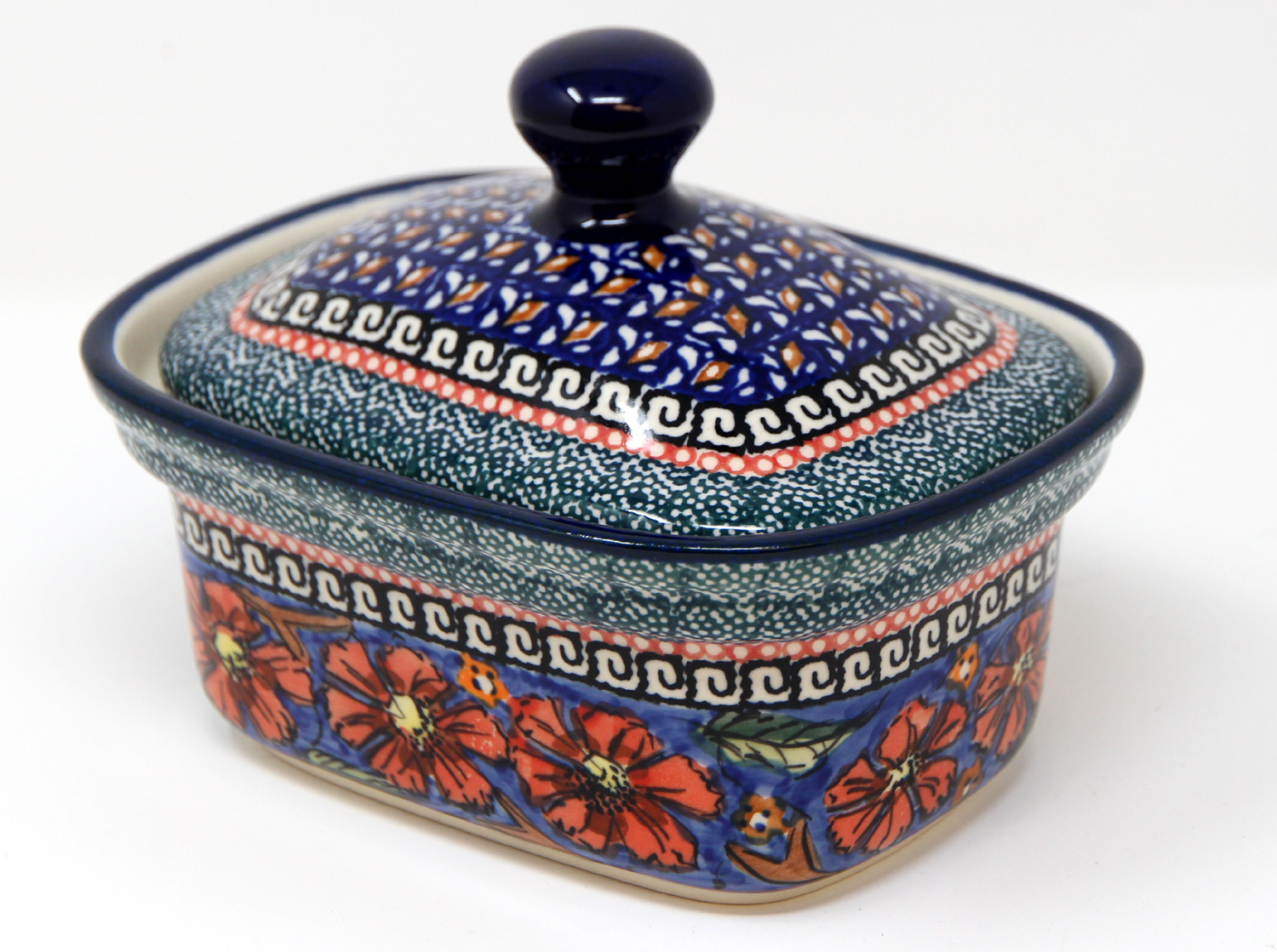 Polish Pottery Butter Tub, Unikat Signature Design 150 Art