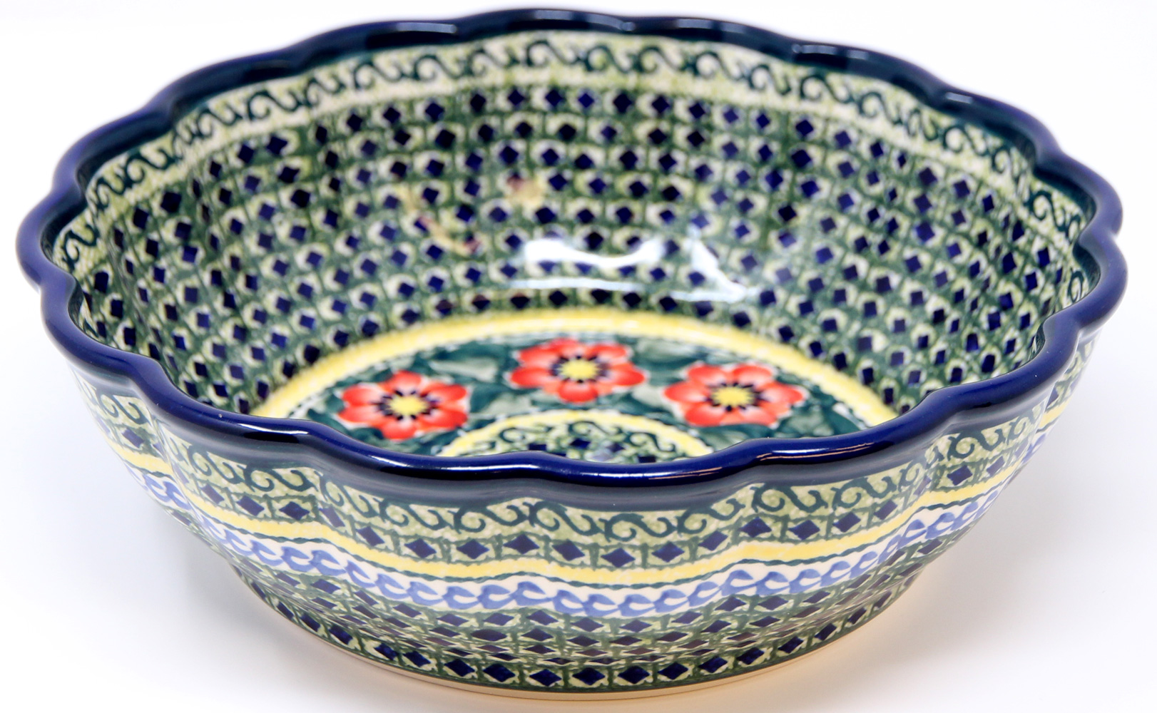 Polish Pottery Scalloped Bowl Unikat Signature 60 Art Pattern Mesmerizing Polish Pottery Patterns