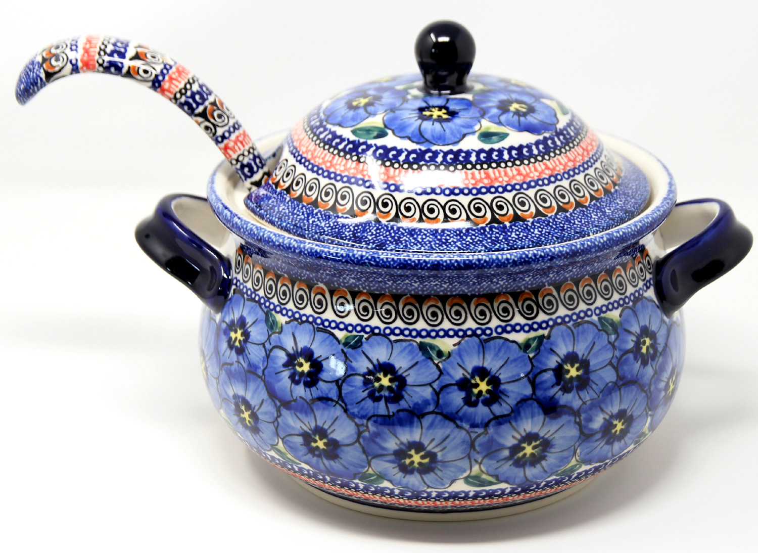 Soup Tureen with Ladle in Regal Bouquet Polish Pottery Pattern from Zaklady