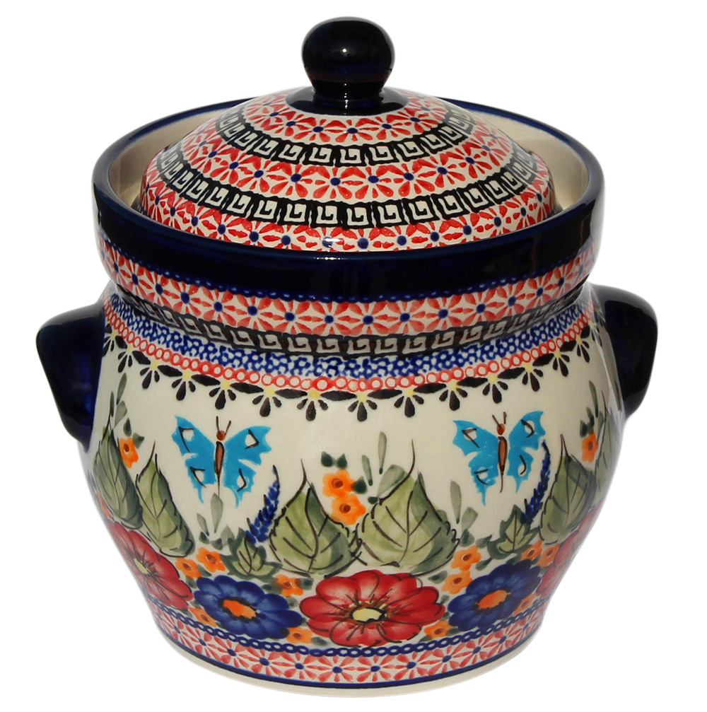 Polish Pottery Fermenting Crock Pot 1.7 liter / 1.8 quart, Unikat Signature Design 149 Art