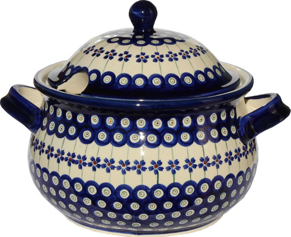 Polish Pottery Soup Tureen, Floral Peacock Design