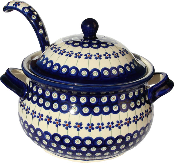 Polish Pottery Soup Tureen with Ladle, Floral Peacock Design